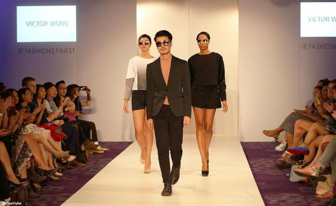 Victor Wong showcases his bold sunglasses during London Fashion Week